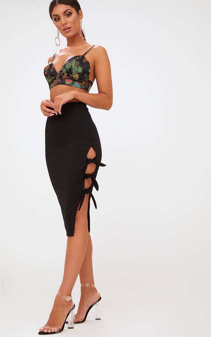 60bbbb9a5e Black Tie Split Midi Skirt. Skirts | PrettyLittleThing USA