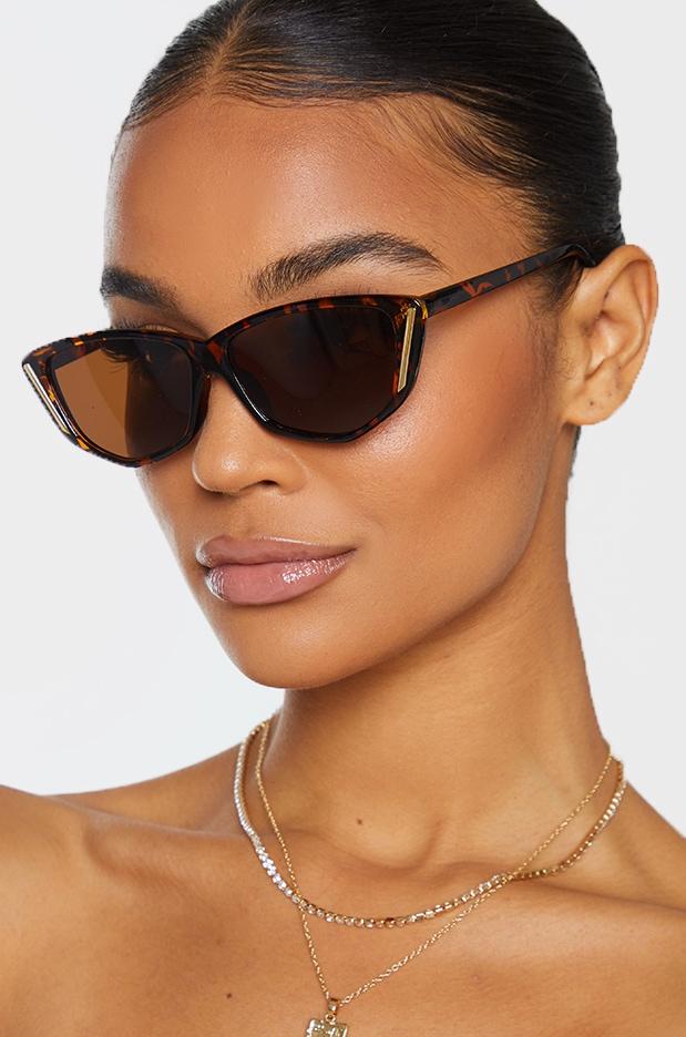 Brown Tortoise Cat Eye Gold Trim Sunglasses 1