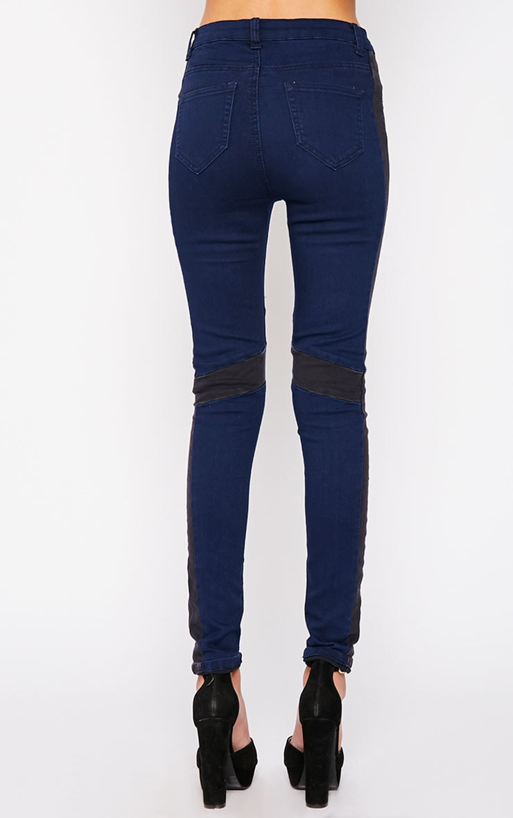 Bianca Blue Skinny Jean with Black Panel 4