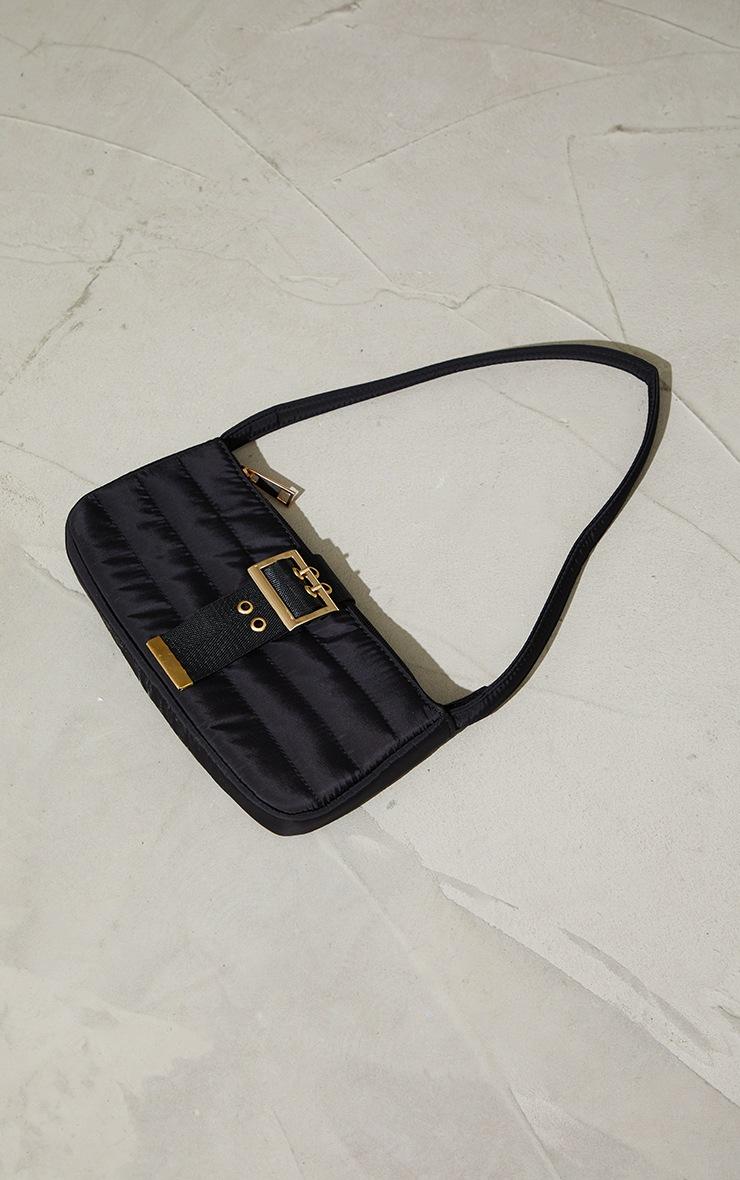 Black Nylon Quilted Front Buckle Shoulder Bag 3