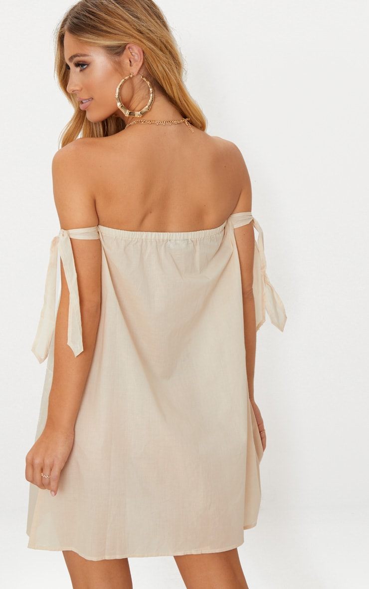 Stone Bardot Tie Detail Smock Dress 2