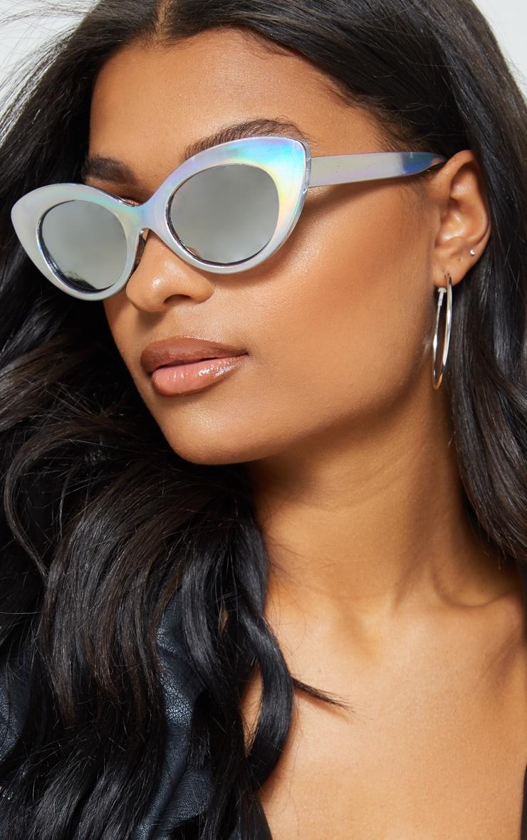 Iridescent Frame  Silver Lens Oval Cat Eye Sunglasses 1