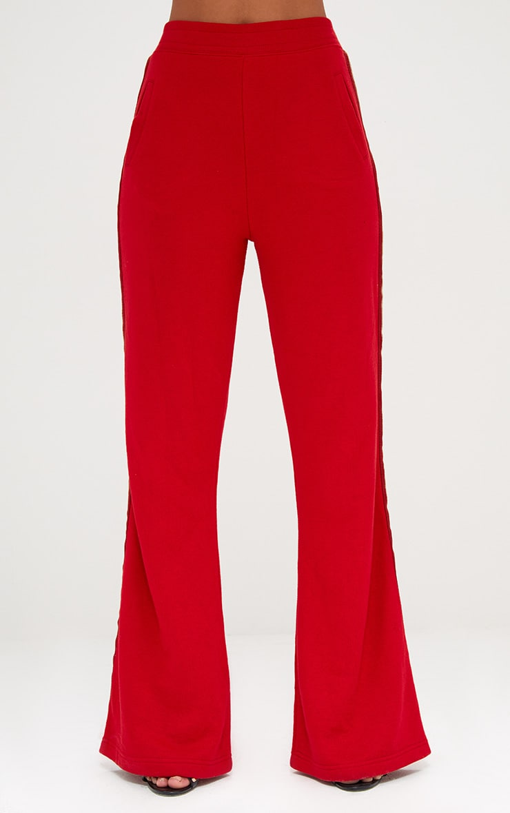 Red Flared Track Pants  4