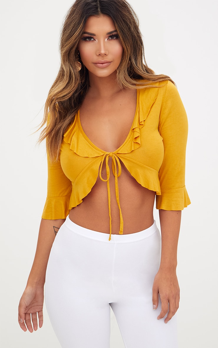 Mustard Jersey Frill Tie Front Top 1
