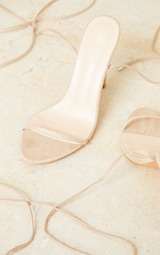 Nude Wide Fit Faux Suede Round Toe Barely There Strappy Heeled Sandals 4