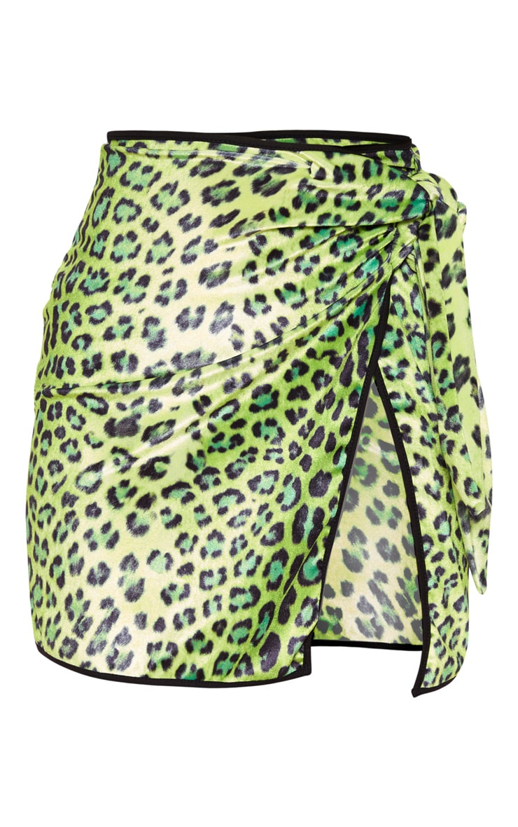 Lime Leopard Printed Velvet Tie Mini Skirt 3