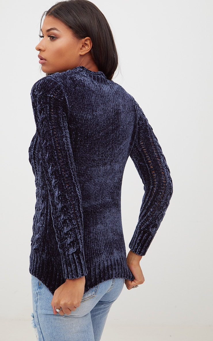 Blue Chenille Cable Jumper 2