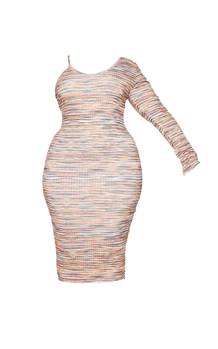 Plus Orange One Sleeve Marl Midi Dress 5