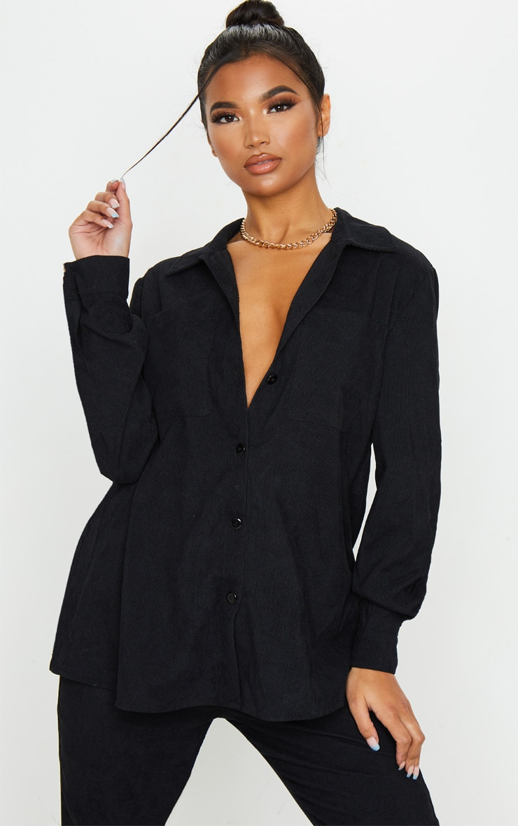Black Cord Button Front Oversized Shirt 1