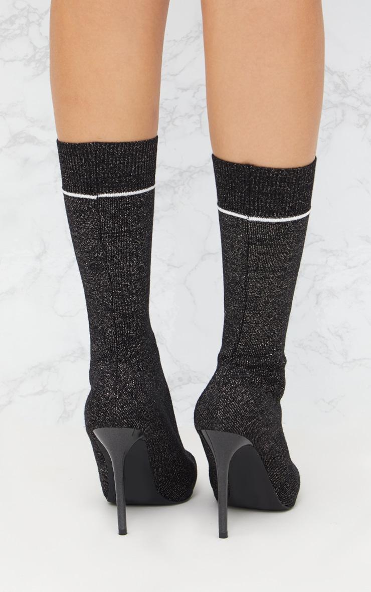 Black Glitter Sports Stripe Sock Boot 4