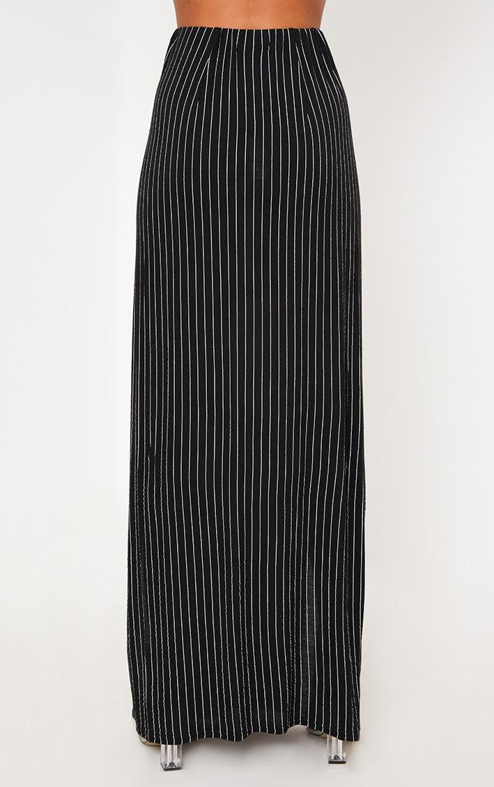 Black Pinstripe Double Split Maxi Skirt  4