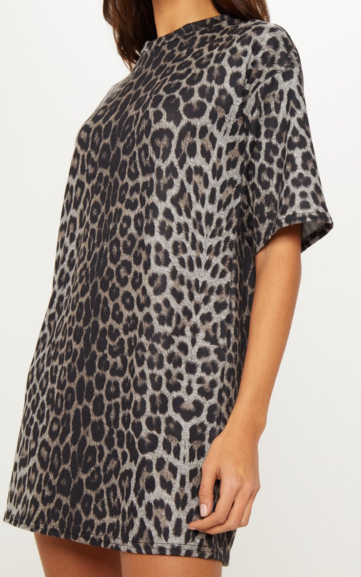 Leopard Print Oversized T Shirt Dress 5