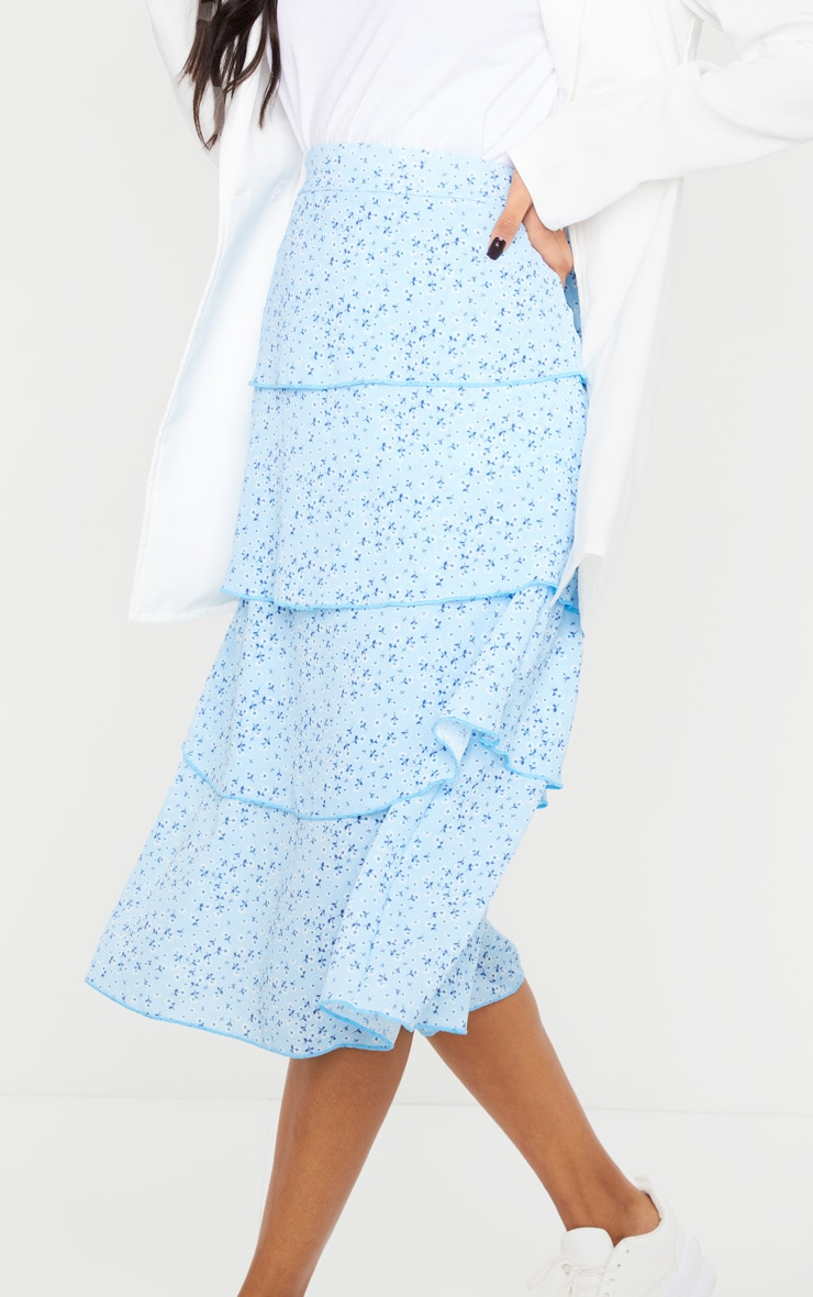Baby Blue Ditsy Floral Tiered Midi Skirt 4