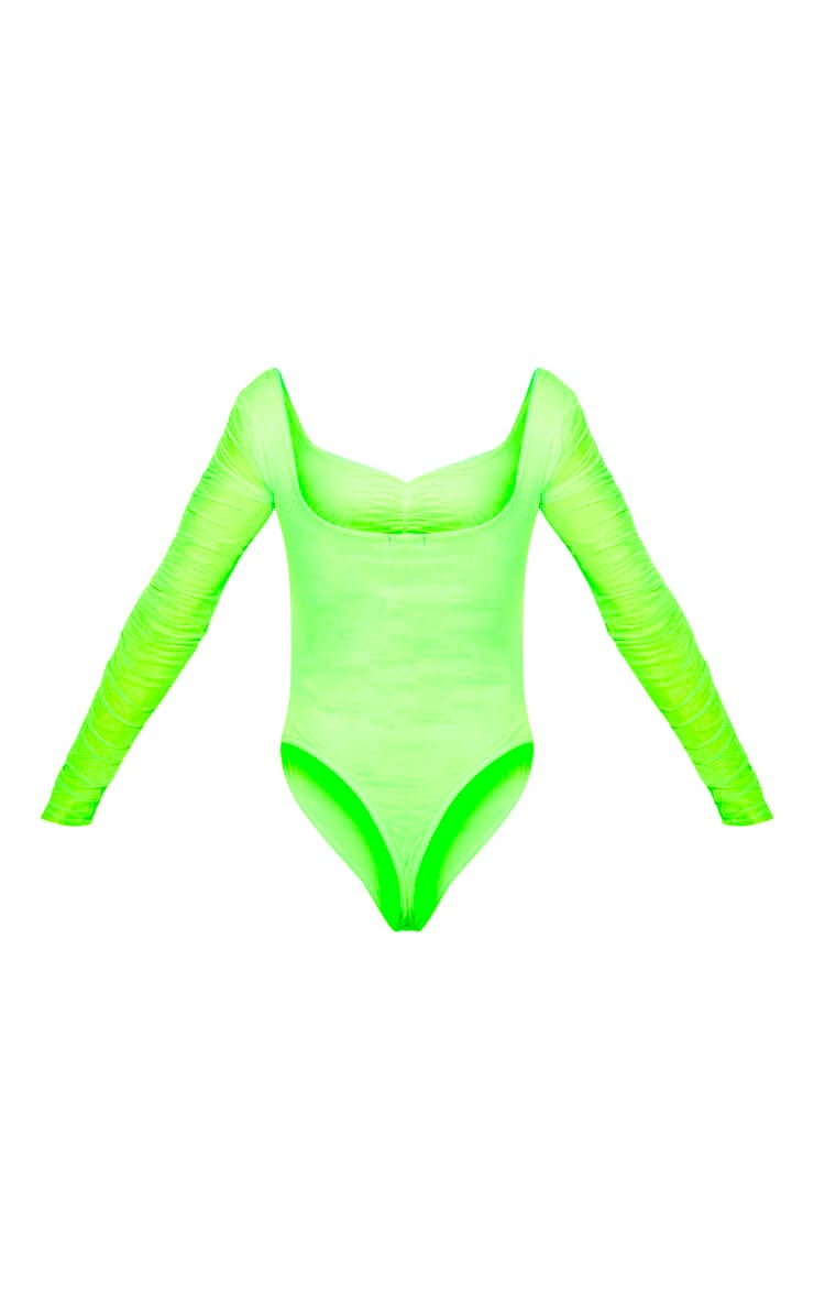 Neon Lime Mesh Ruched Detail Long Sleeve Bodysuit 4