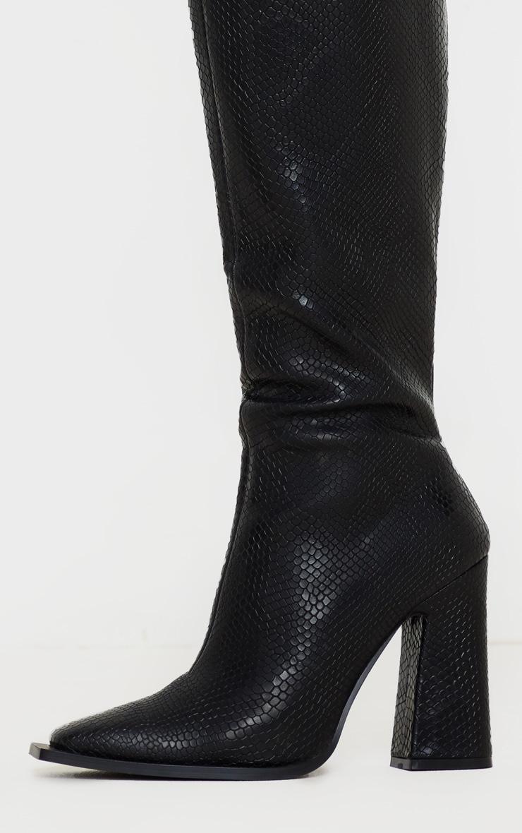 Black Square Toe Block Heel Calf Boot 4