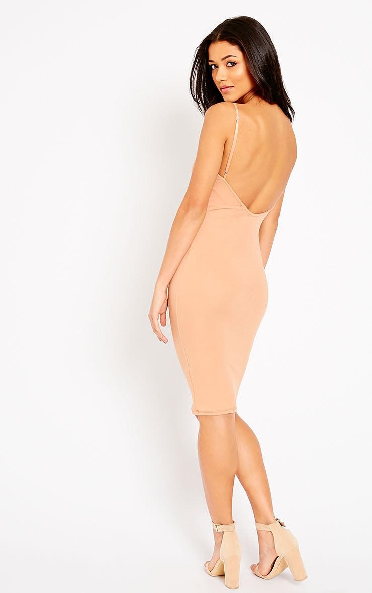 Ada Camel V Back Crepe Midi Dress 1