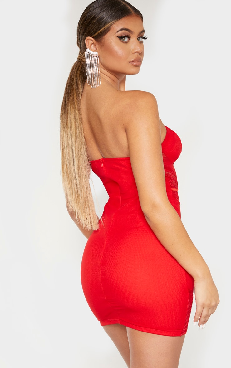 Red Bandeau Mesh Lace Insert Binded Bodycon Dress 2