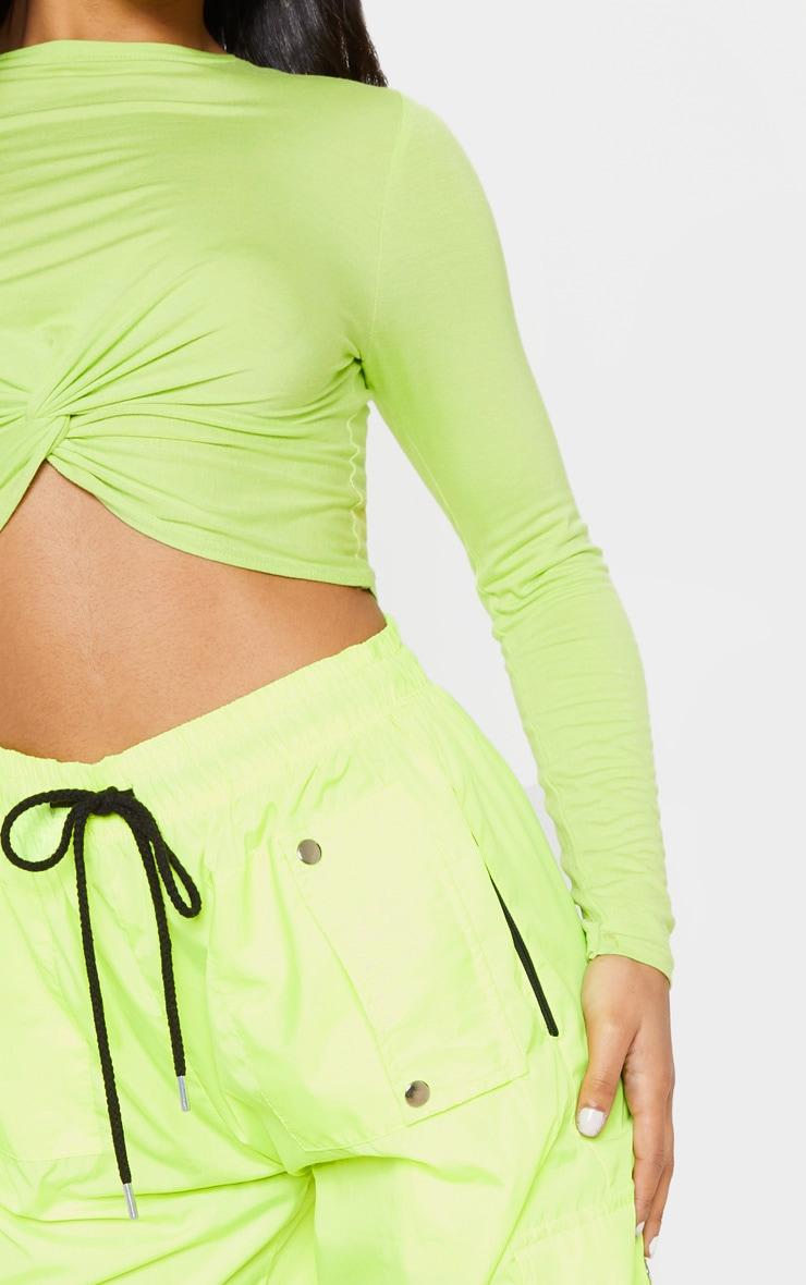 Neon Lime Long Sleeve Knot Hem Crop Top 5