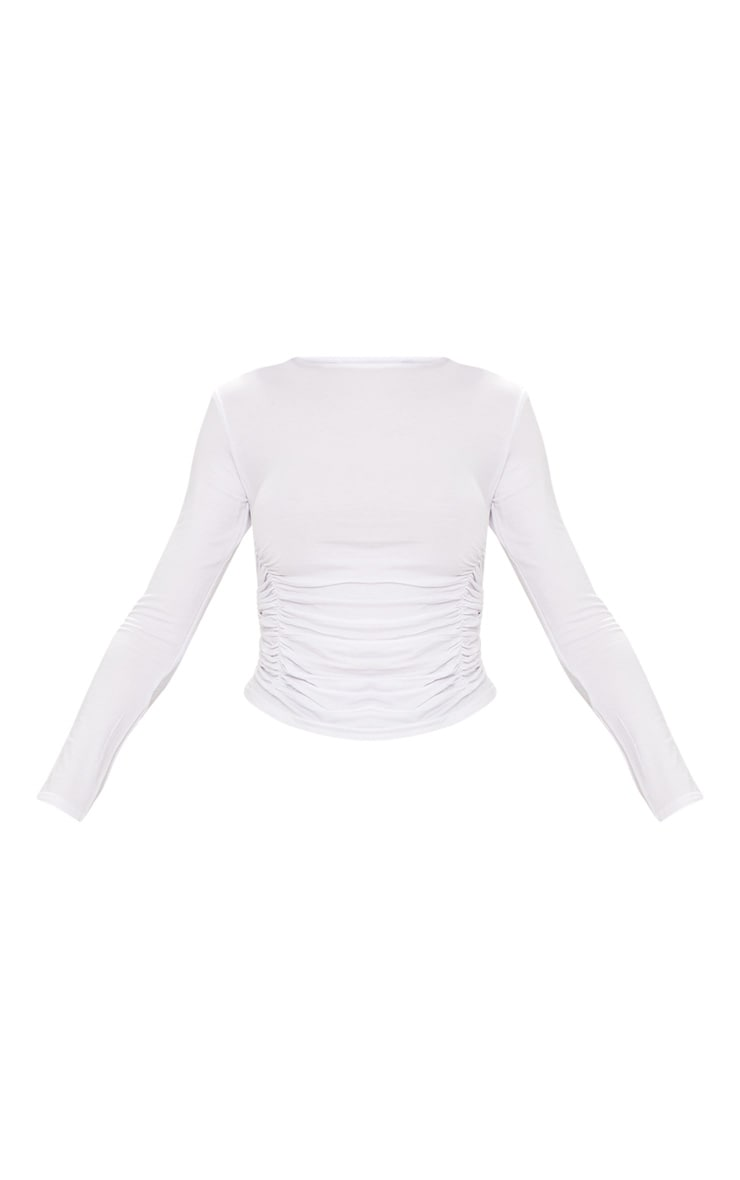 White Long Sleeve Ruched Front Top  3