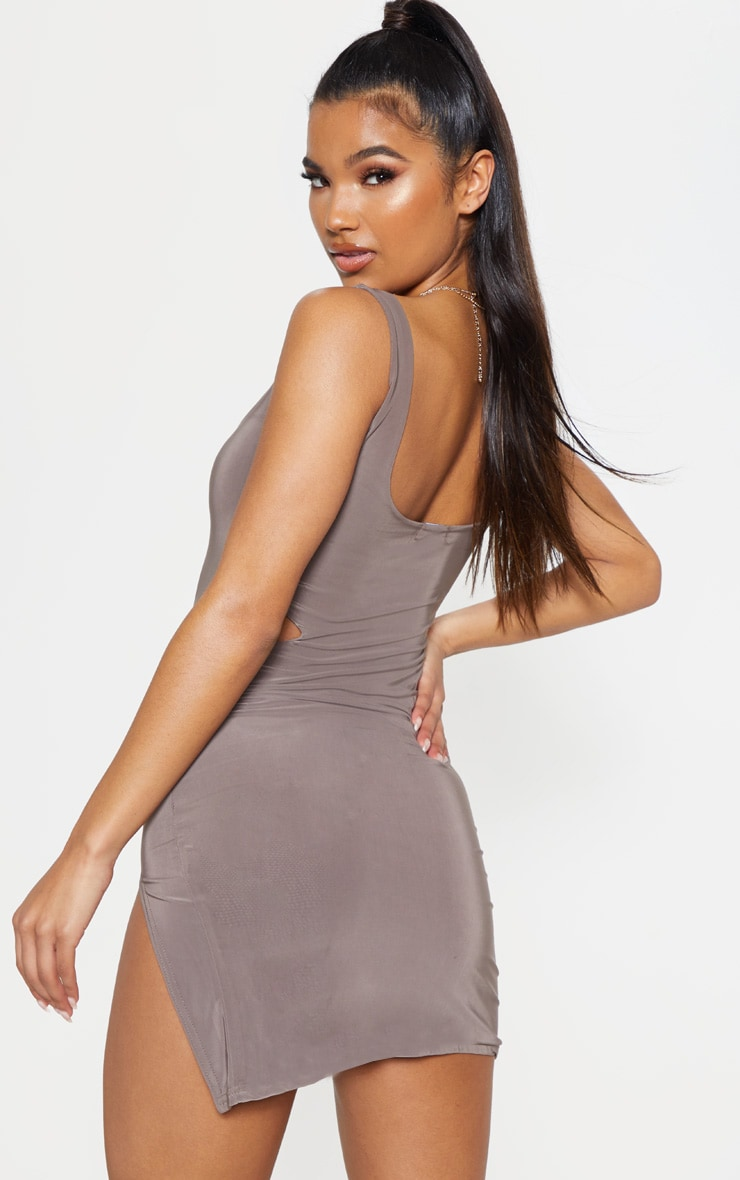 Taupe Slinky Cut Out Bodycon Dress 2
