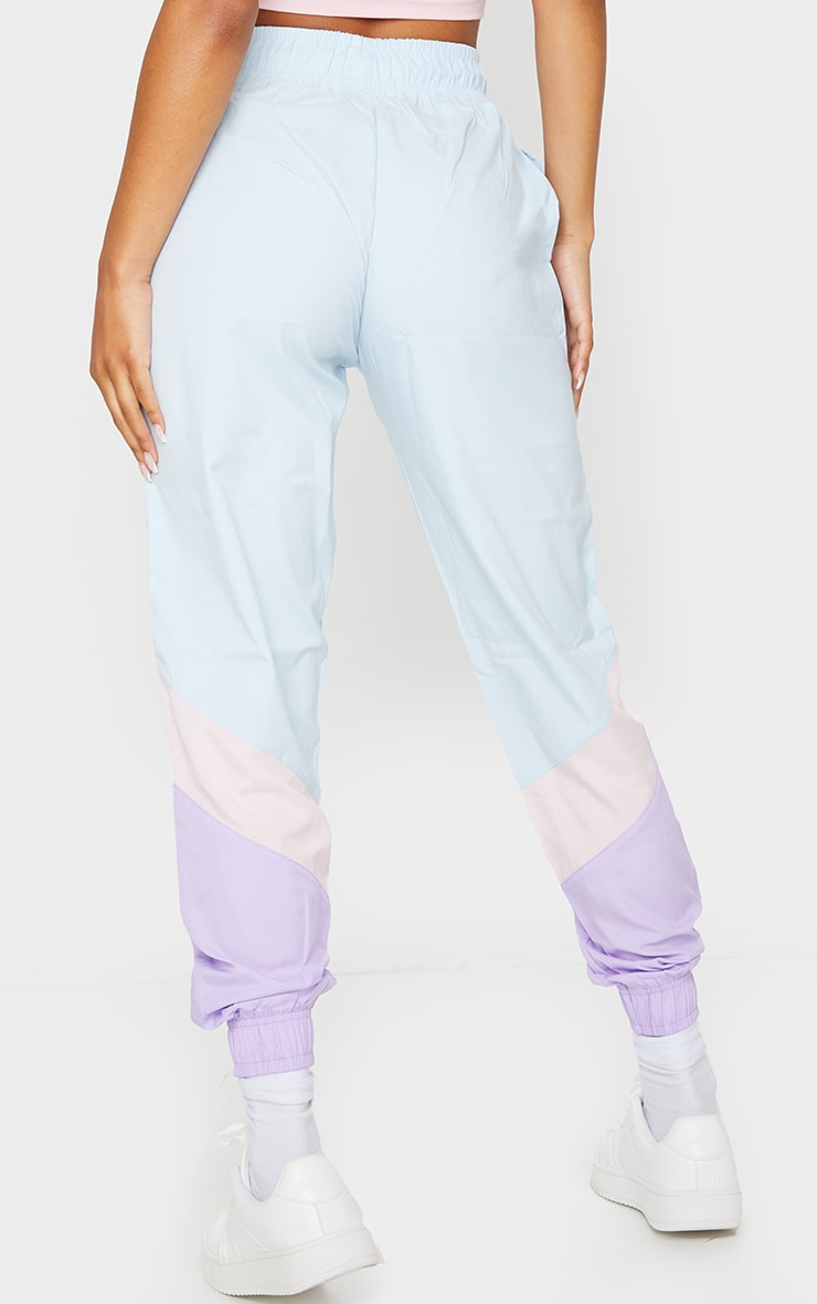 Blue Contrast Panel Peached Joggers 3