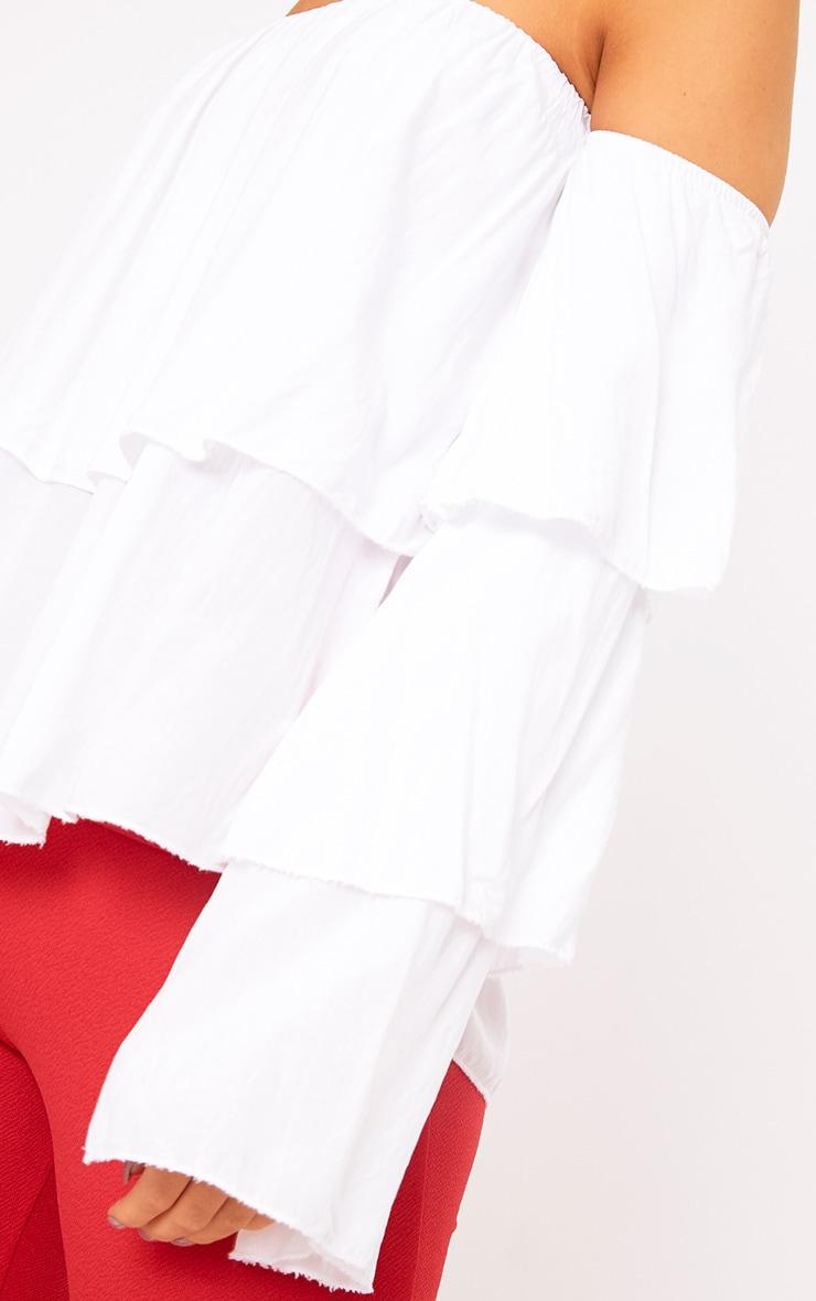 White Bardot Frill Sleeve Soft Shirt 5
