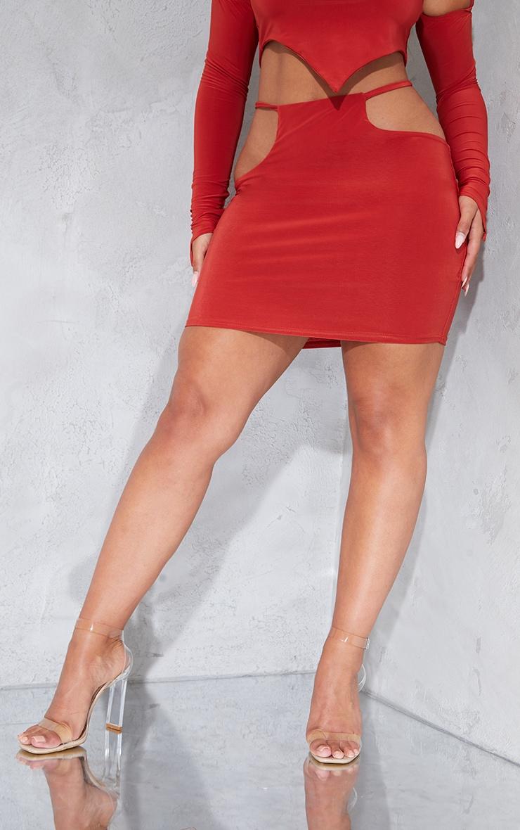 Shape Rust Slinky Cut Out Side Bodycon Skirt 2