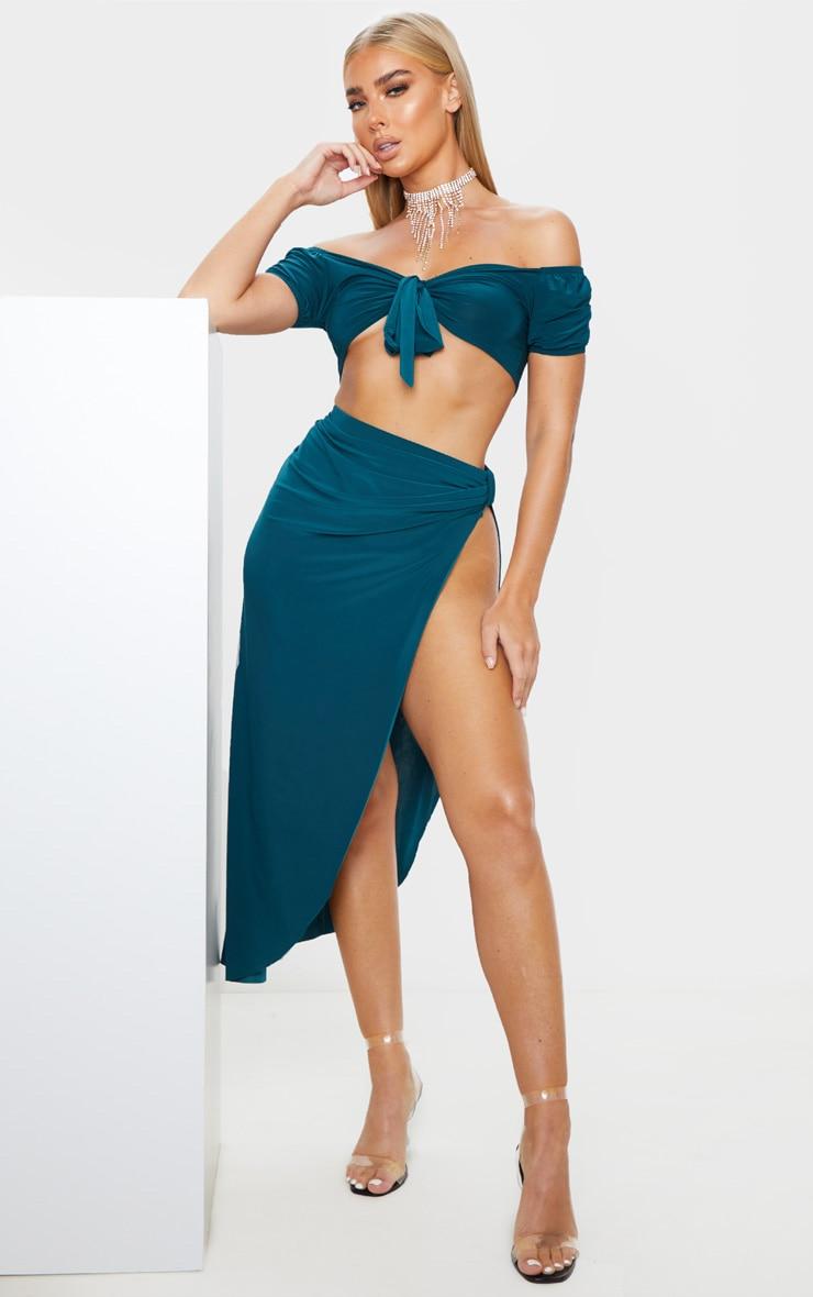 Emerald Green Slinky Knot Detail Curved Hem Midi Skirt 1