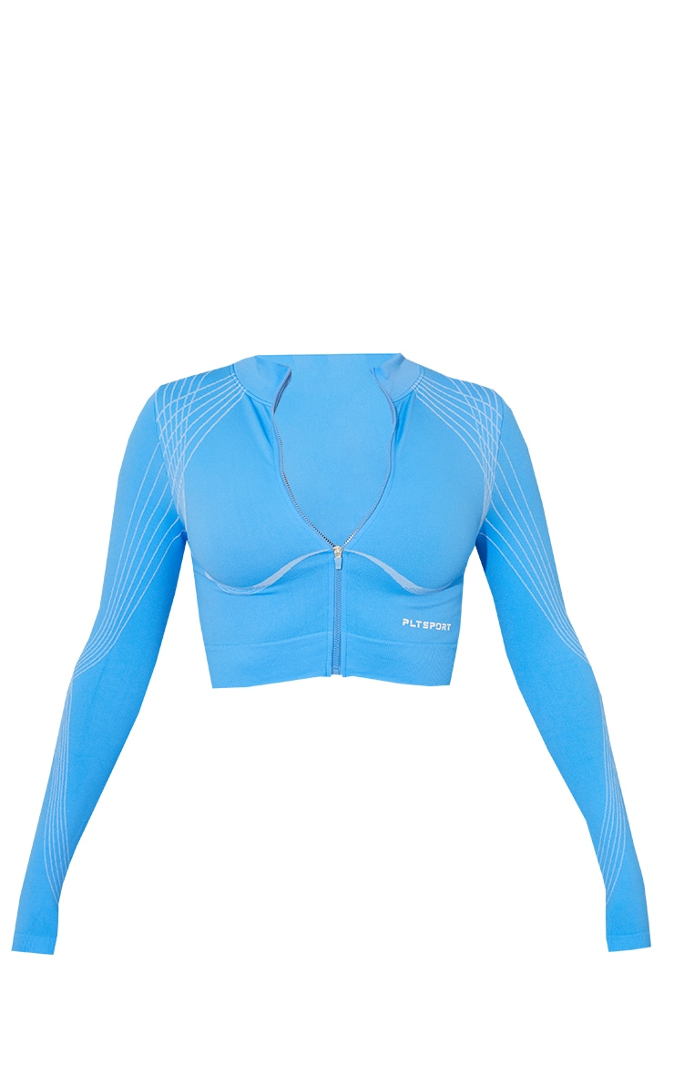 Blue Contrasting Details Seamless Cropped Zip Up Jacket 5
