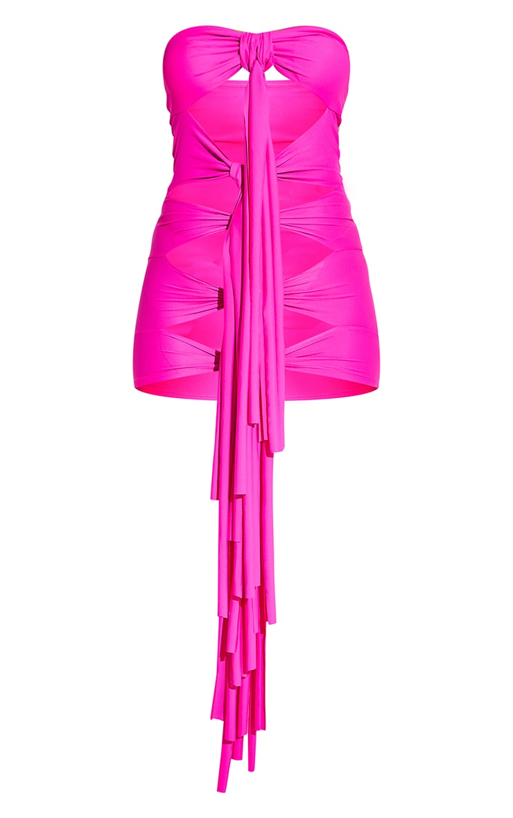Hot Pink Tassel Tie Front Dress 9