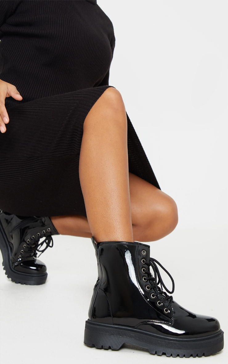 Black Patent Lace Up Chunky Ankle Boot 1