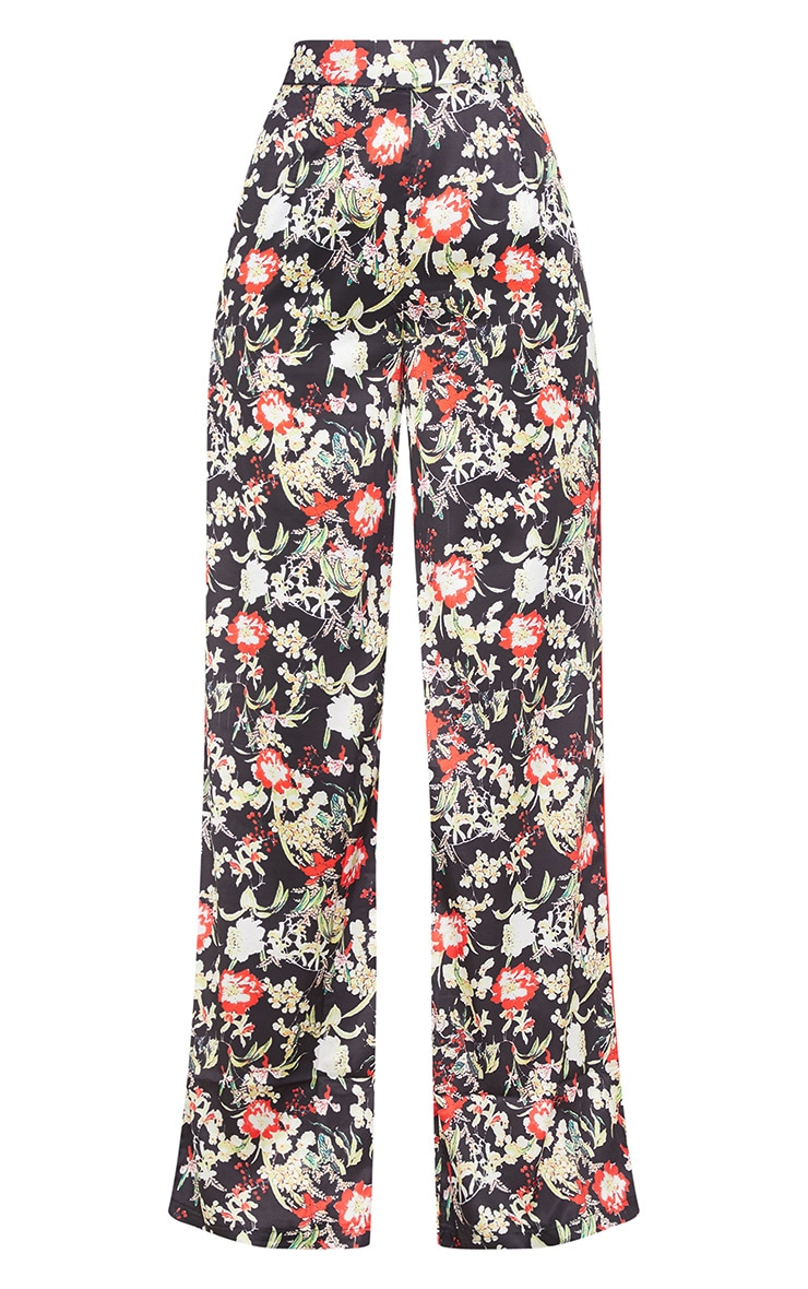 Multi Floral Satin Printed Wide Leg Trousers 3