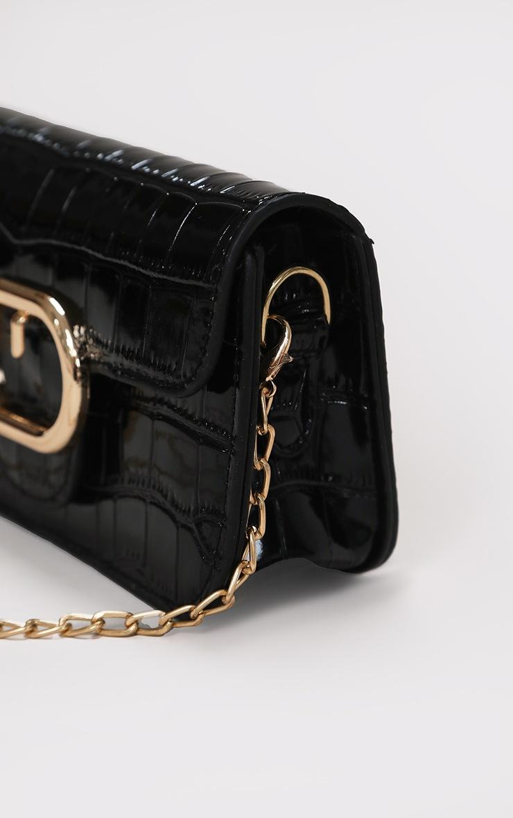 Black Croc Oval Detail Cross Body Bag 3