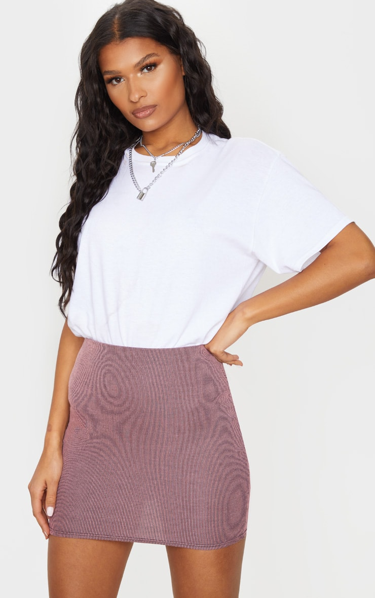 Pink Contrast Rib Mini Skirt 4