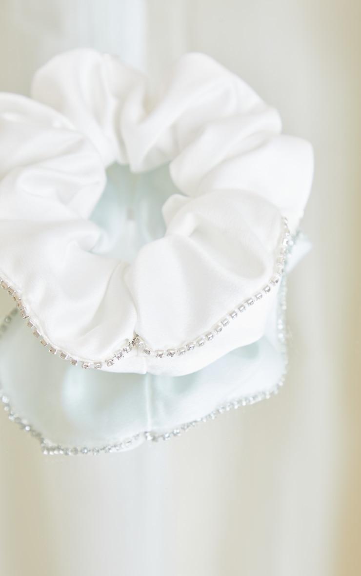 White Satin Diamante Trim Scrunchie 3