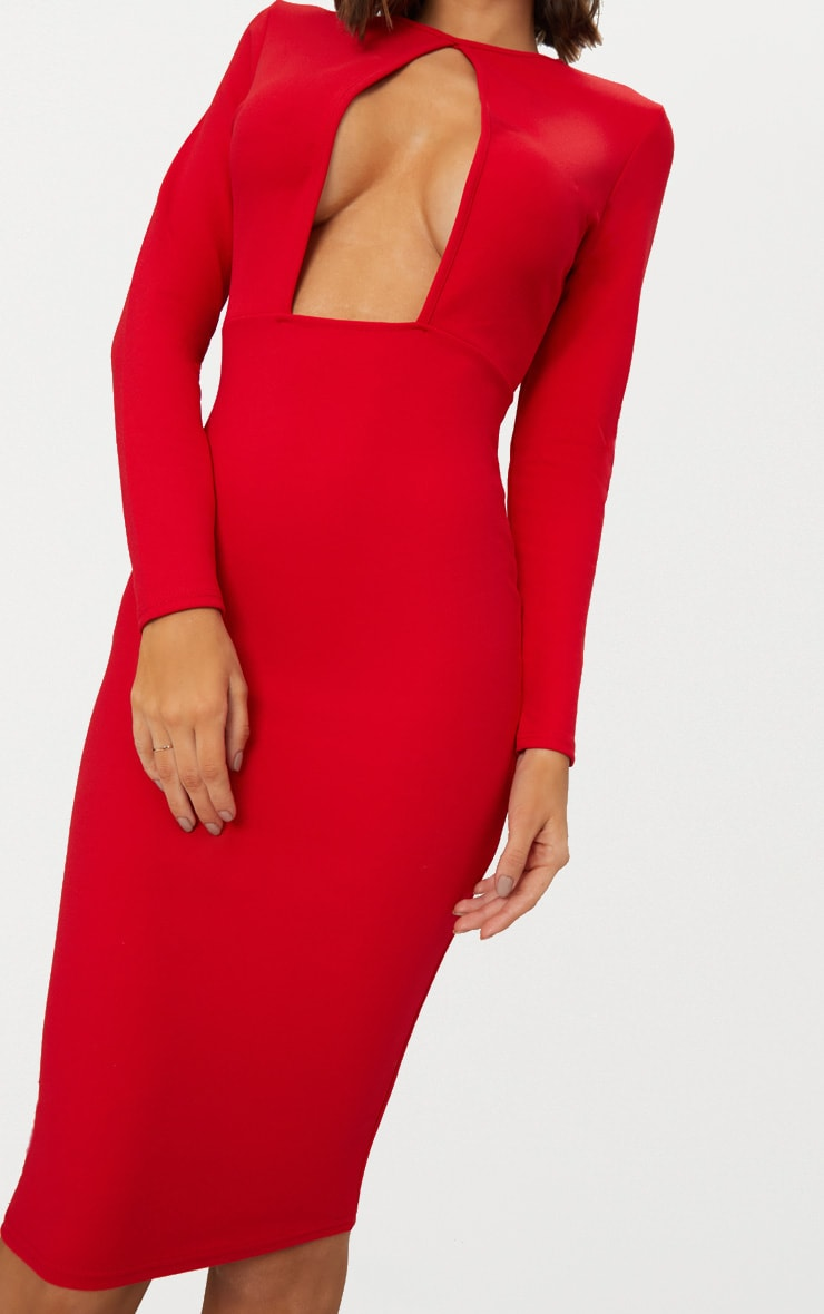 Red Cut Out Detail Midi Dress 5