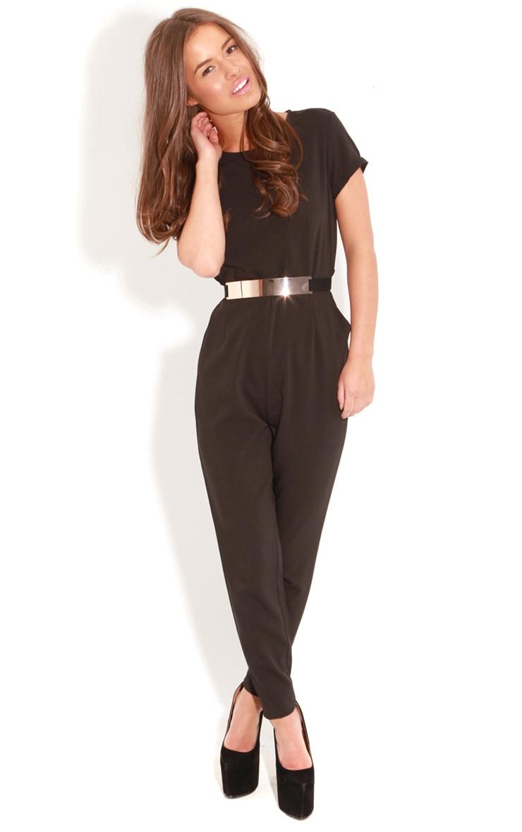 Alberta Black Short Sleeve Fitted Jumpsuit 3