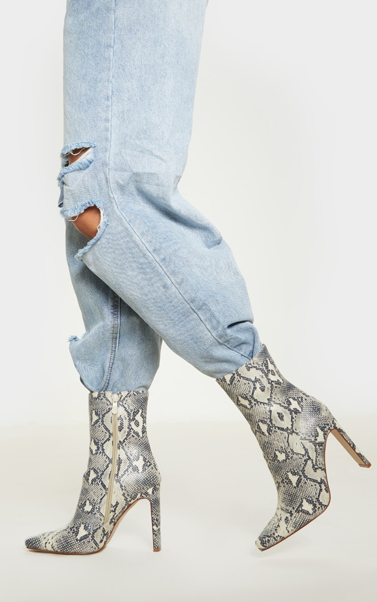 Beige Snake Print Heeled Ankle Boot 1