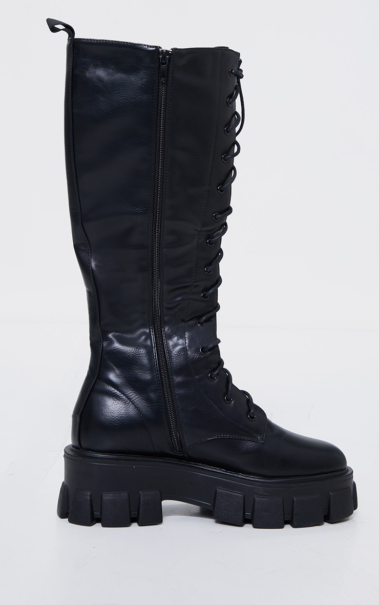Black Pu Extreme Cleated Lace Up Knee High Boots 4