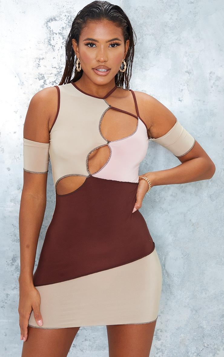 Nude Slinky Contrast Panel Overlock Stitch Cut Out Bodycon Dress 1