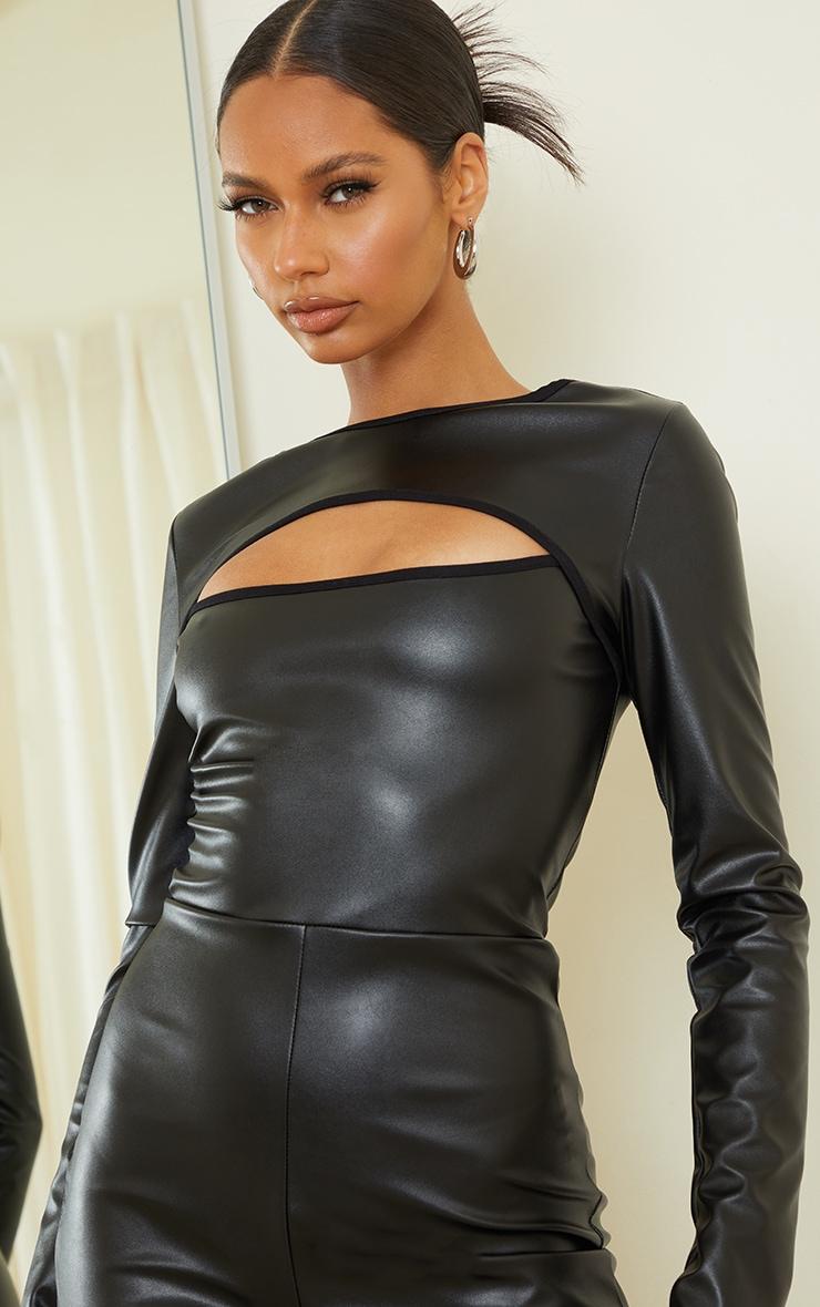 Black PU Cut Out Long Sleeve Jumpsuit 4