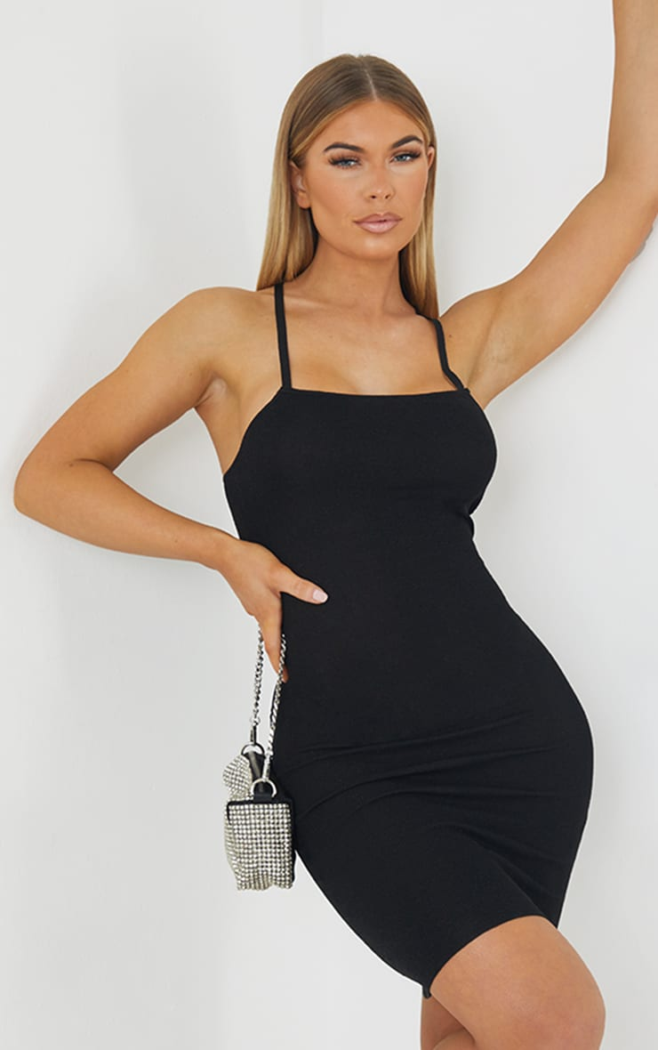 Black Premium Knit Cross Back Strap Glitter Dress 1