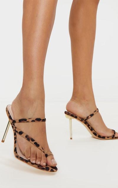 Leopard Metal Heel Square Toe Mule Sandal