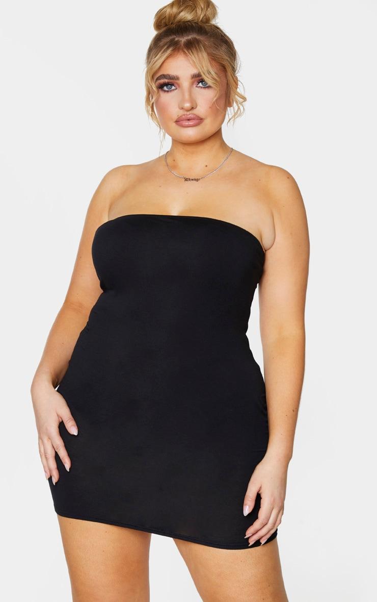 Plus Black Jersey Bandeau Bodycon Dress 1