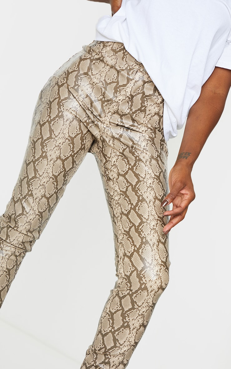Stone Snake Faux Leather Skinny Pants 4