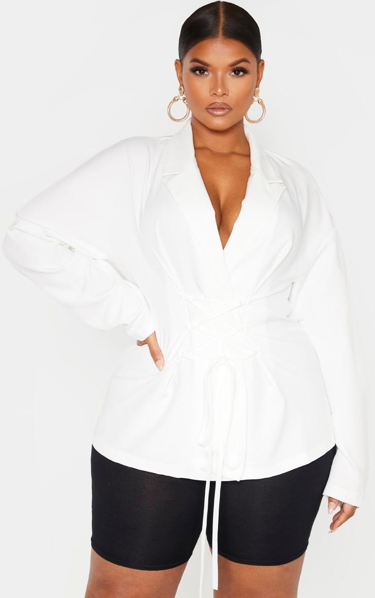 Plus White Lace Up Corset Shirt  1