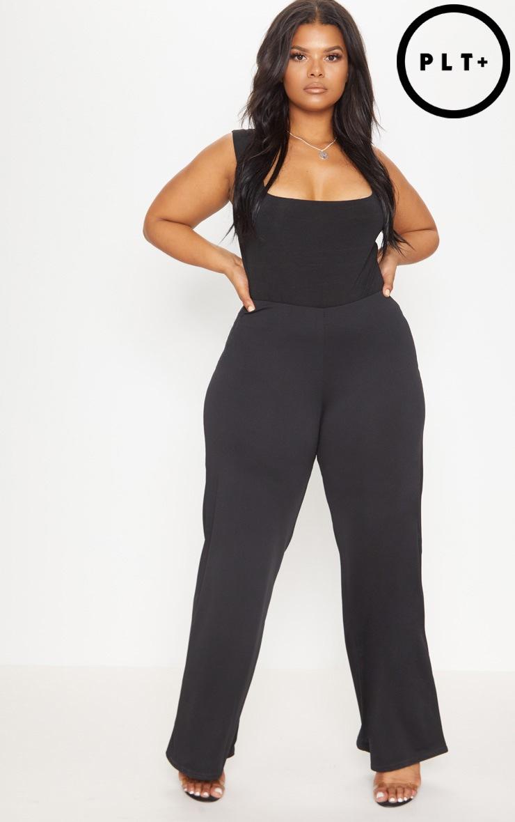 Plus Black High Waisted Wide Leg Trouser 1