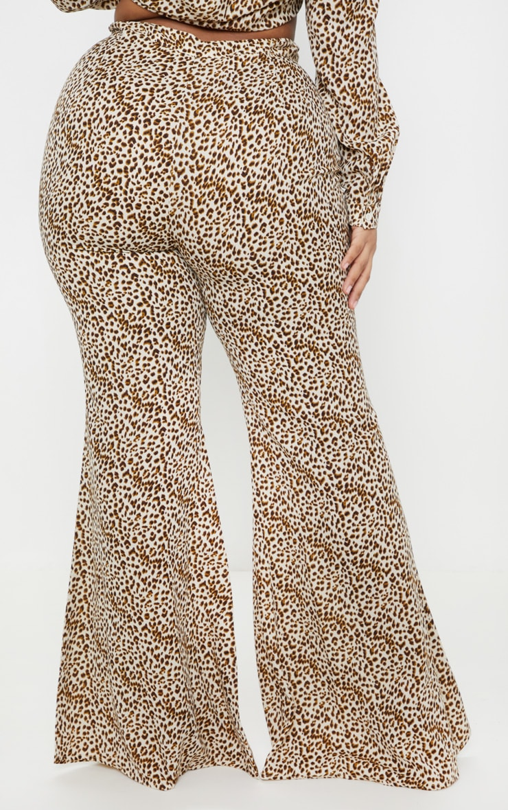 Plus Cream Leopard Print Satin High Waisted Flare Leg Trouser  4