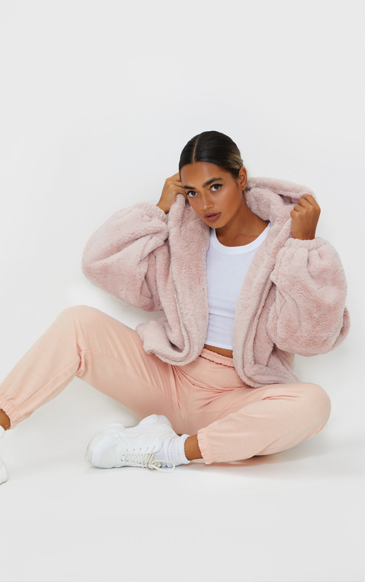 Petite Pink Faux Fur Balloon Sleeve Hooded Jacket 3