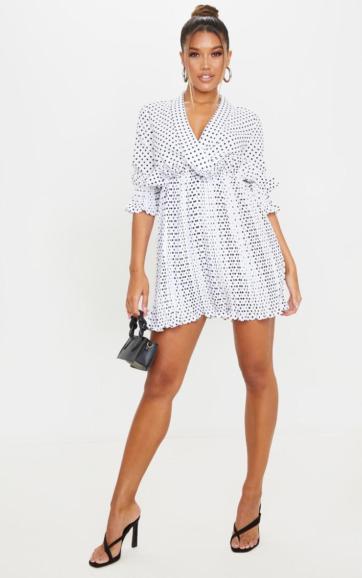White Polka Dot Frill Detail Pleated Skater Dress 3